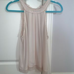 Blush tank top with tie & key hole in back